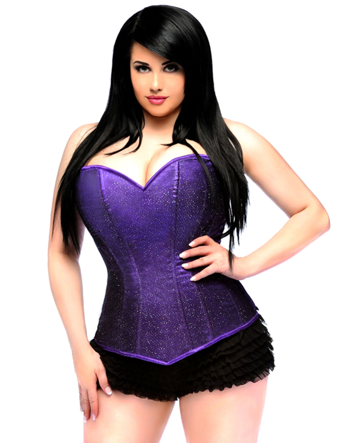 Lavish Side Zip Glitter Corset