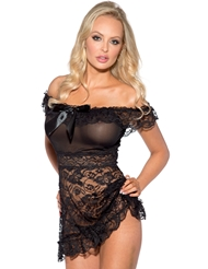 OFF THE SHOULDER LACE AND MESH BABYDOLL