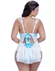 FLIRTY BRIDE BOYSHORT SET WITH TRAIN - PLUS