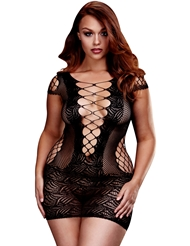 LACE-UP FRONT MINI DRESS - PLUS