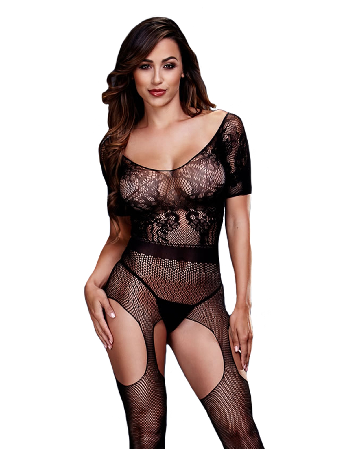 Short Sleeve Crotchless Bodystocking