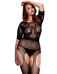 SHORT SLEEVE CROTCHLESS BODYSTOCKING - PLUS