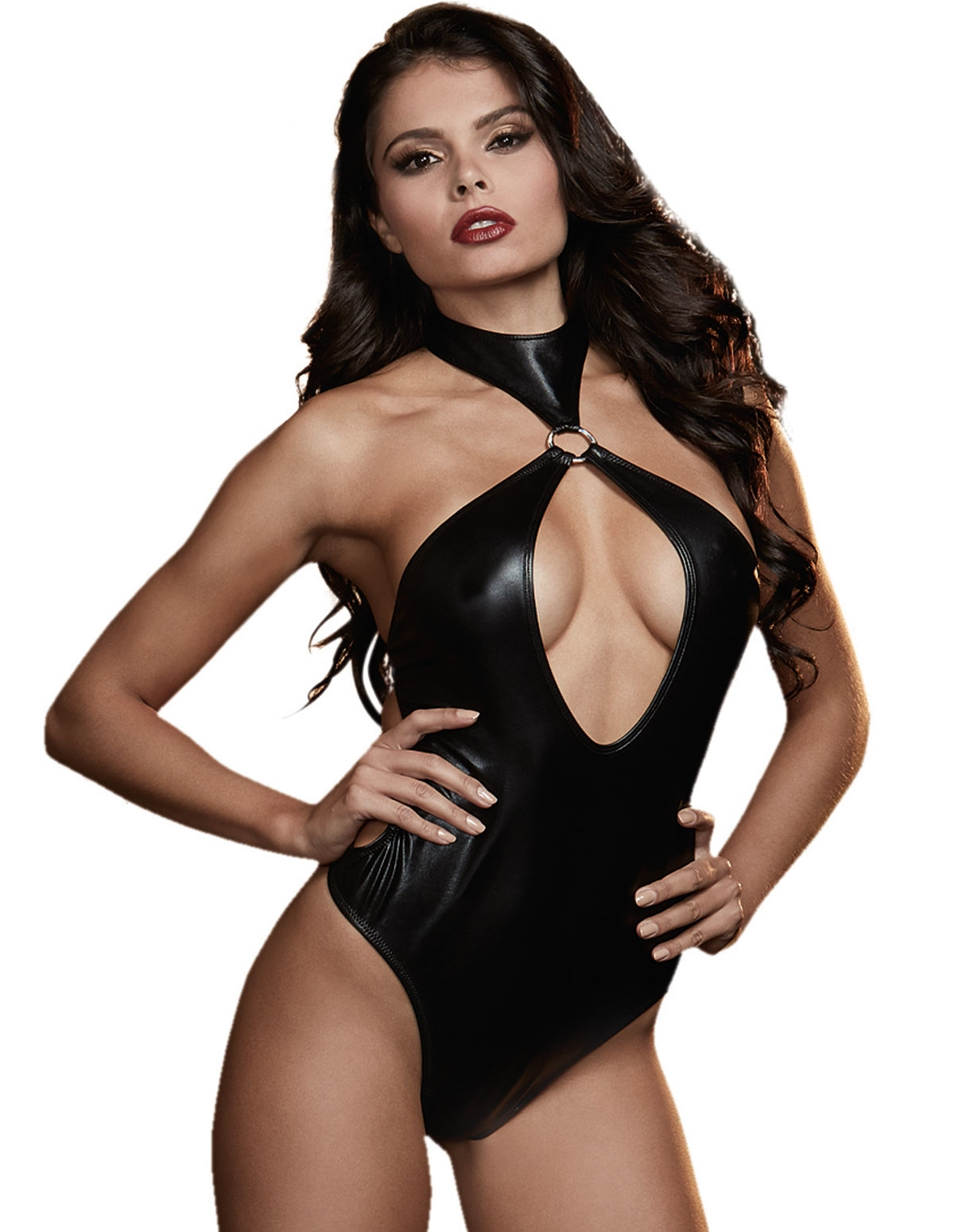 Faux Leather Halter Teddy With Wrist Restraints