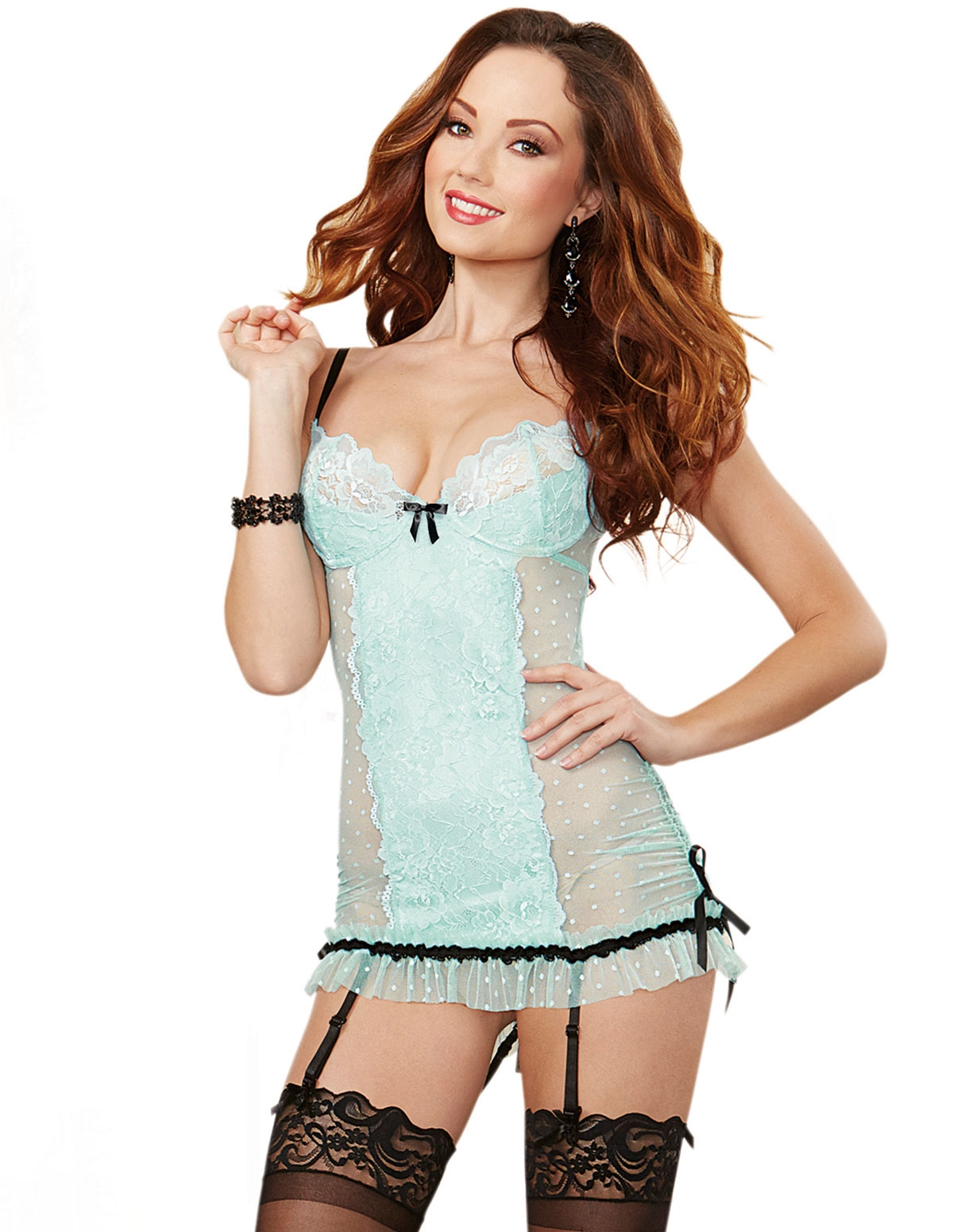 Frenchie Dotted Mesh And Lace Chemise