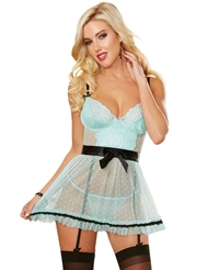 FRENCHIE MESH AND LACE APRON BABYDOLL