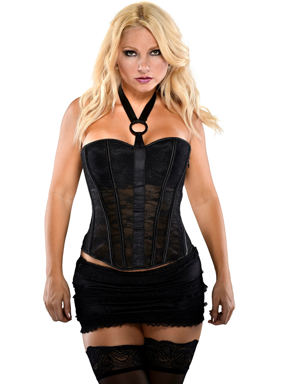 Lace Halter Corset With Choker