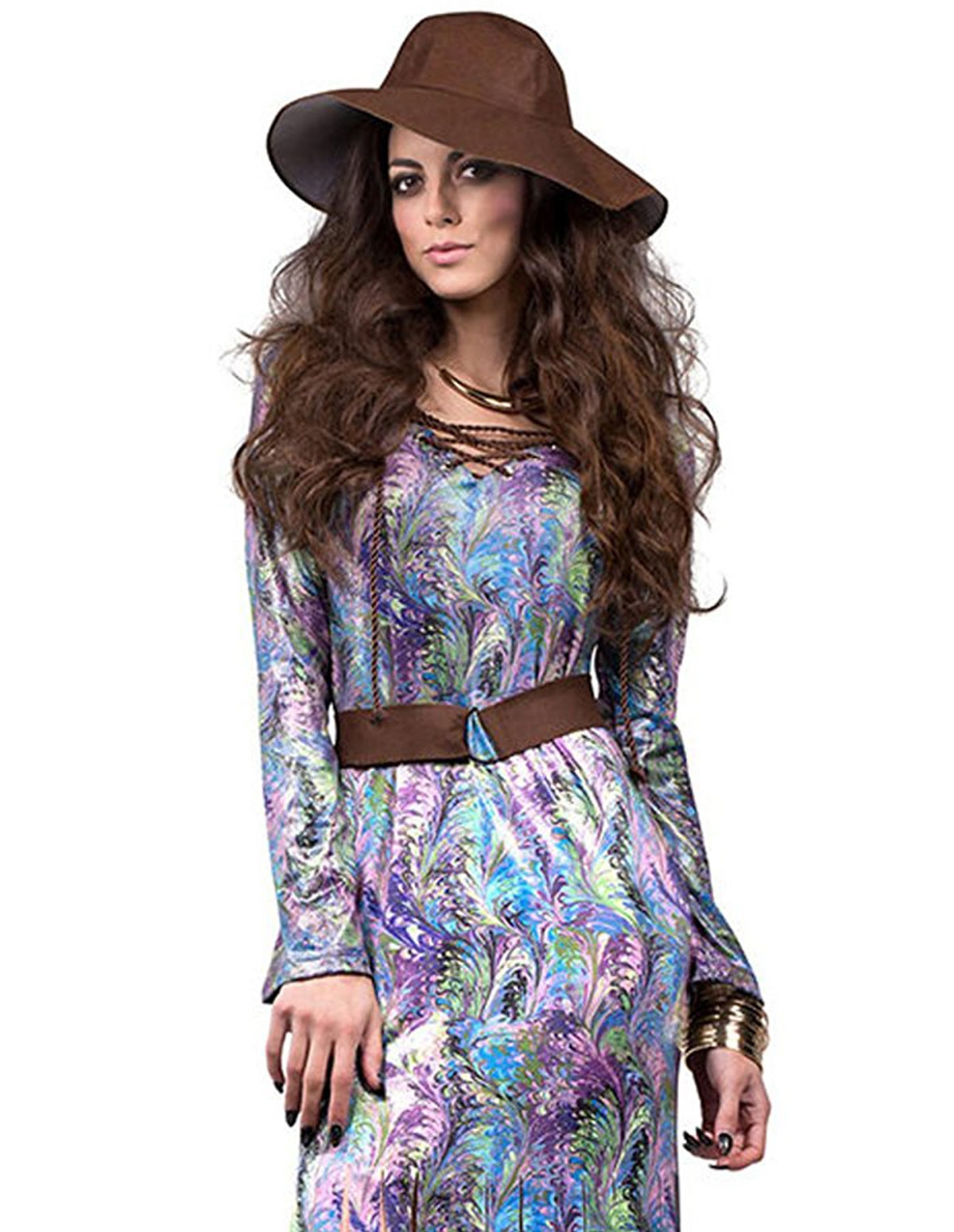 Dream On 70S Maxi Dress With Belt - Reg & Plus