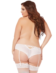 GALLOON LACE OPEN CROTCH GARTER PANTY - PLUS