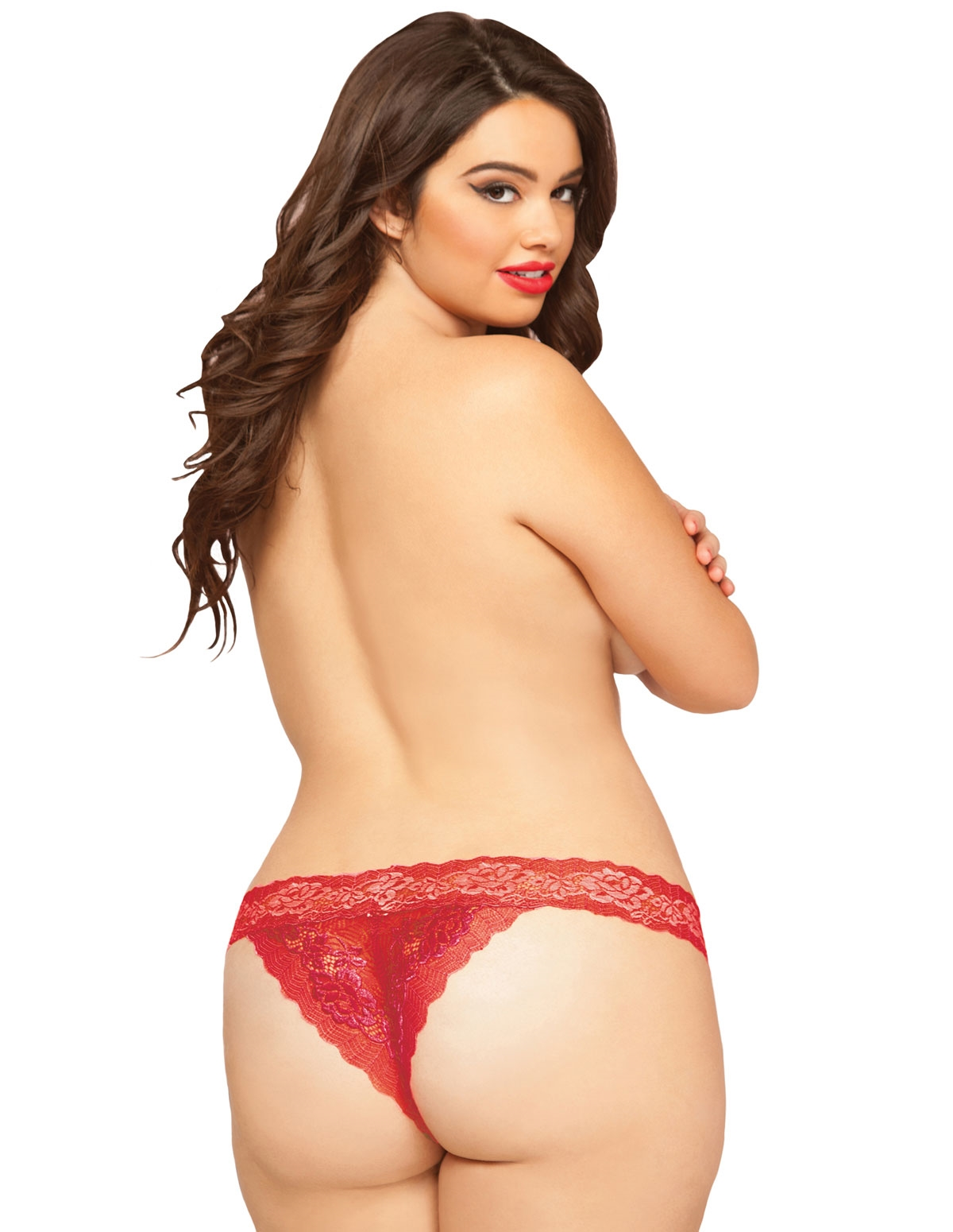 Rose Lace Open Crotch Tanga - Plus