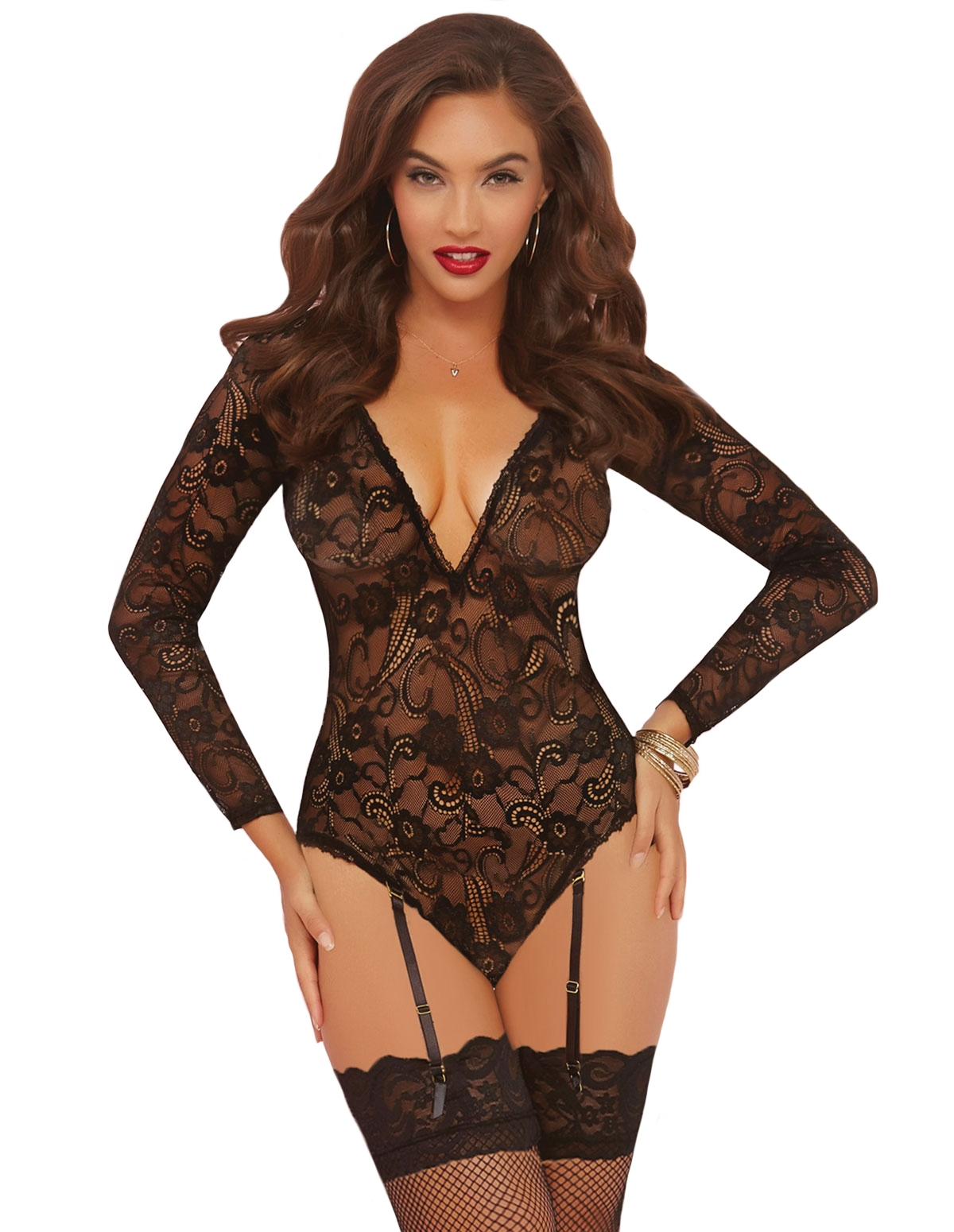Vintage Lace Long Sleeve Teddy