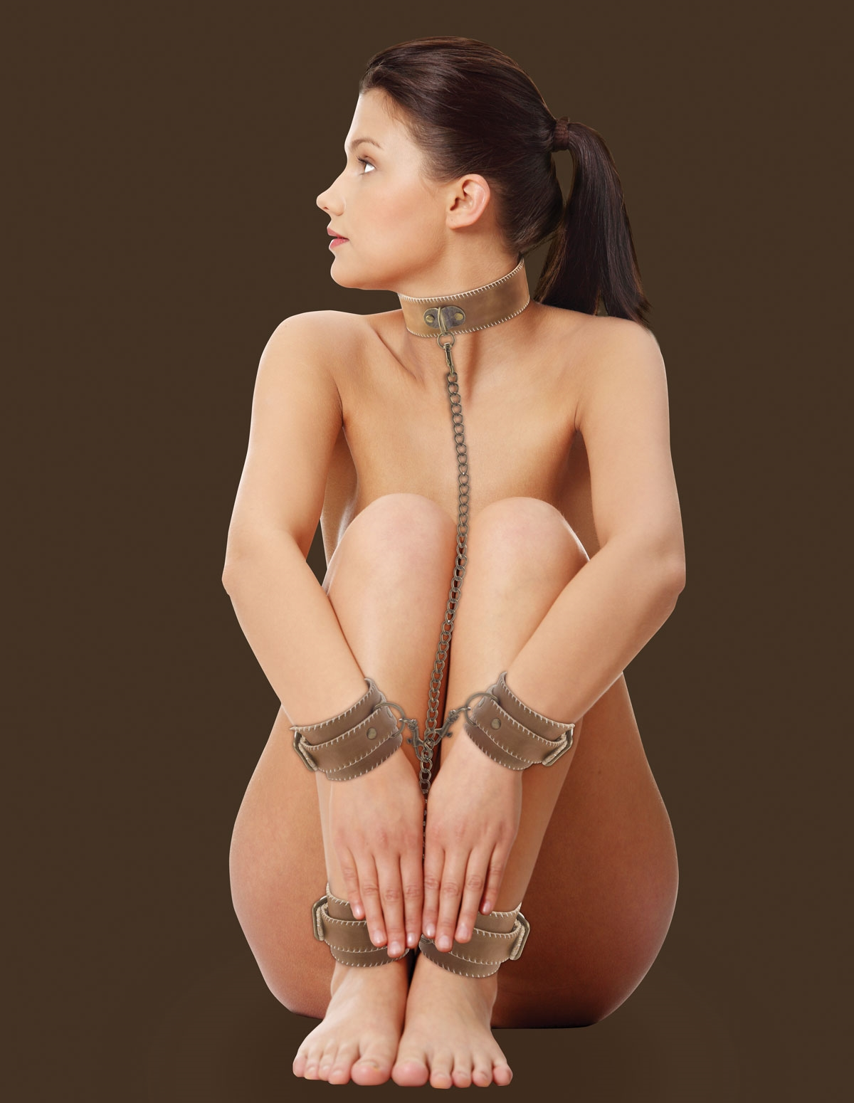 Leather Collar With Hand & Ankle Cuffs