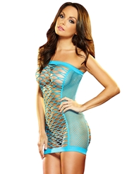 XTC DIAMOND NET MINI DRESS BLUE