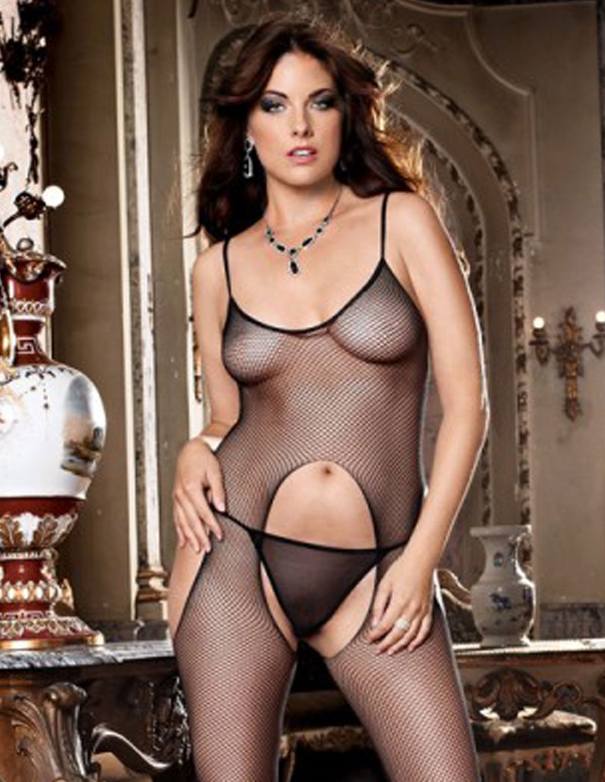 Suspender Bodystocking - Plus