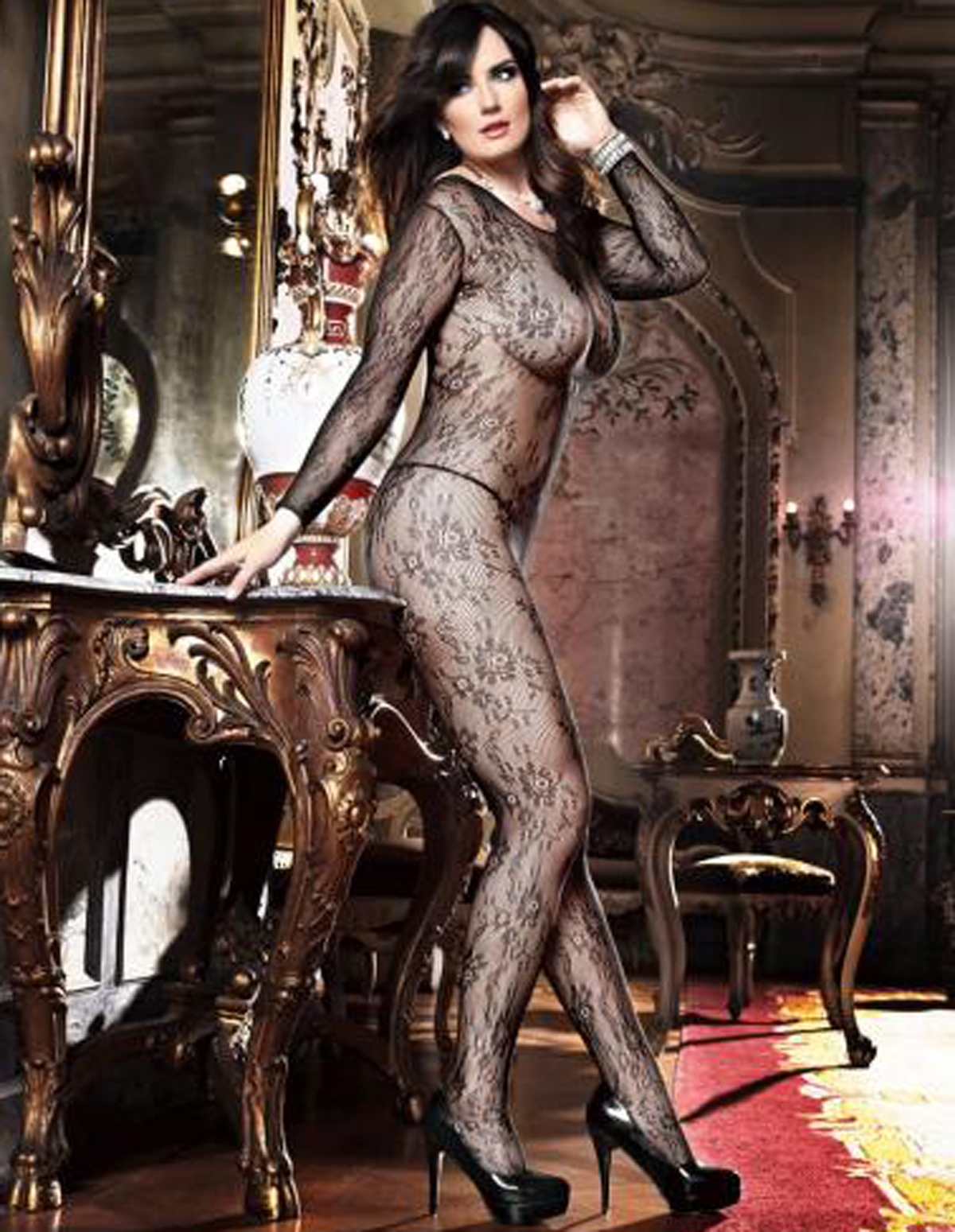 Flower Lace Long Sleeve Bodystocking - Plus