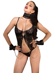 LACE SEDUCTION TEDDY WITH LACE COLLAR AND CUFFS