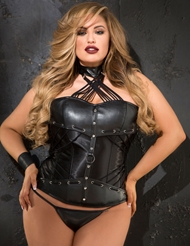 DYNAMITE FAUX LEATHER CORSET - PLUS