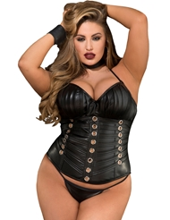 FAUX LEATHER & GROMMET HALTER CORSET - PLUS