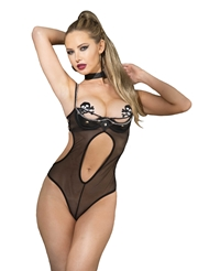 FAUX LEATHER & MESH TEDDY WITH CHAIN