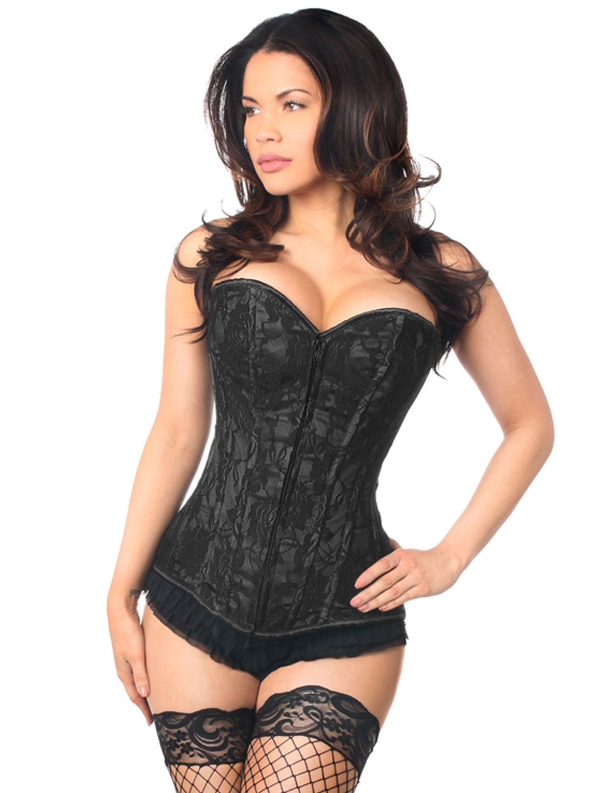 Lavish Lace Front Zip Corset Black