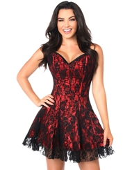 LAVISH LACE CORSET DRESS RED