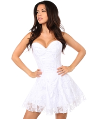 LAVISH WHITE LACE CORSET DRESS - PLUS
