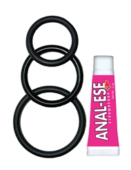 SILICONE COCK RING KIT WITH ANAL-ESE