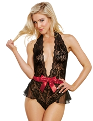ROMANTIC NIGHT LACE TEDDY WITH SATIN BOW