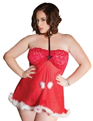 SLEEPOVER SANTA LACE TOP BABYDOLL - PLUS