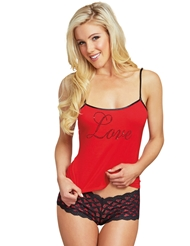 LOVE ME SOFTLY HEART CUT-OUT CAMI SET