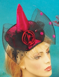 BOW MINI WITCH HAT WITH ROSE