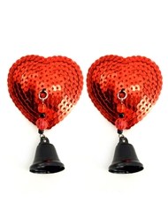 SEQUIN HEART PASTIES WITH BELL