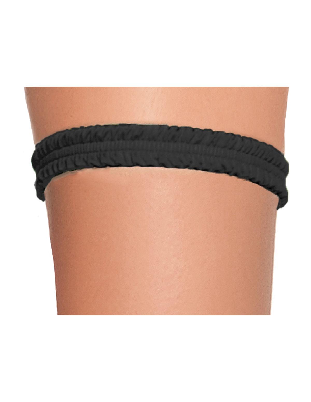 Ruched Leg Garter Black