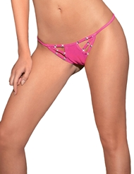 JEWELED DEEP STRAPPY THONG
