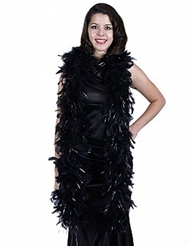 CHANDELLE FEATHER BOA WITH LUREX BLACK