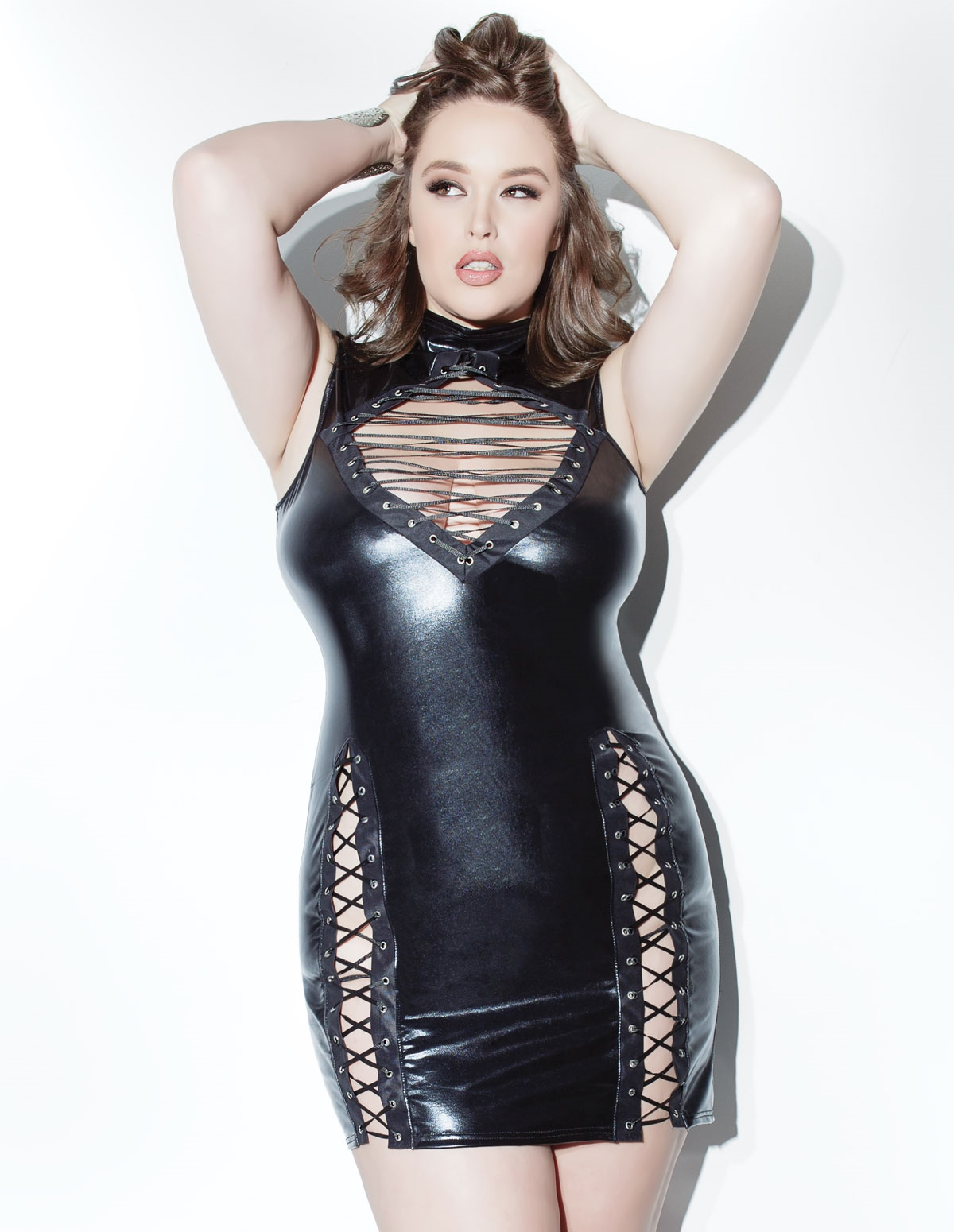 Lace Me Up Wetlook Mini Dress - Plus