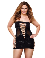 BACKROOM BLING RHINESTONE MINI DRESS - PLUS