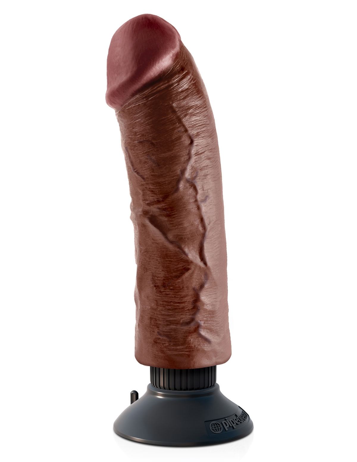 King Cock 8-Inch Vibrator With Suction Cup Brown