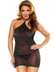 VIP SHEER SPARKLE MINI DRESS - PLUS