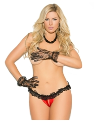 SATIN & LACE CROTCHLESS PANTY - PLUS