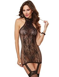 NET & LACE HALTER CHEMISE WITH STOCKINGS