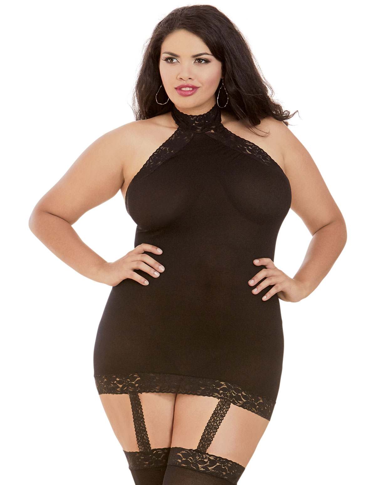 Sexy Opaque Halter Dress With Stockings