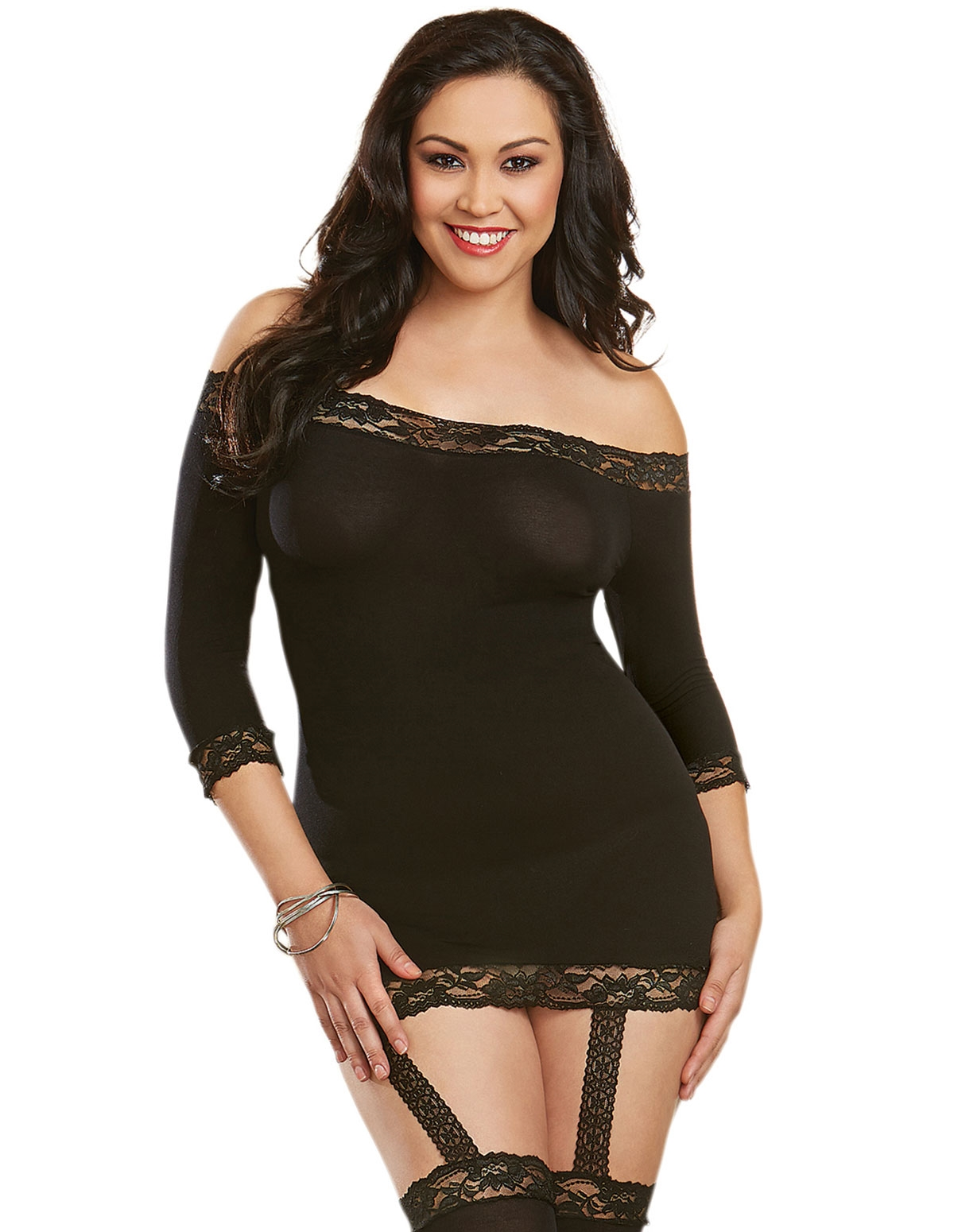 Opaque Off The Shoulder Chemise - Plus