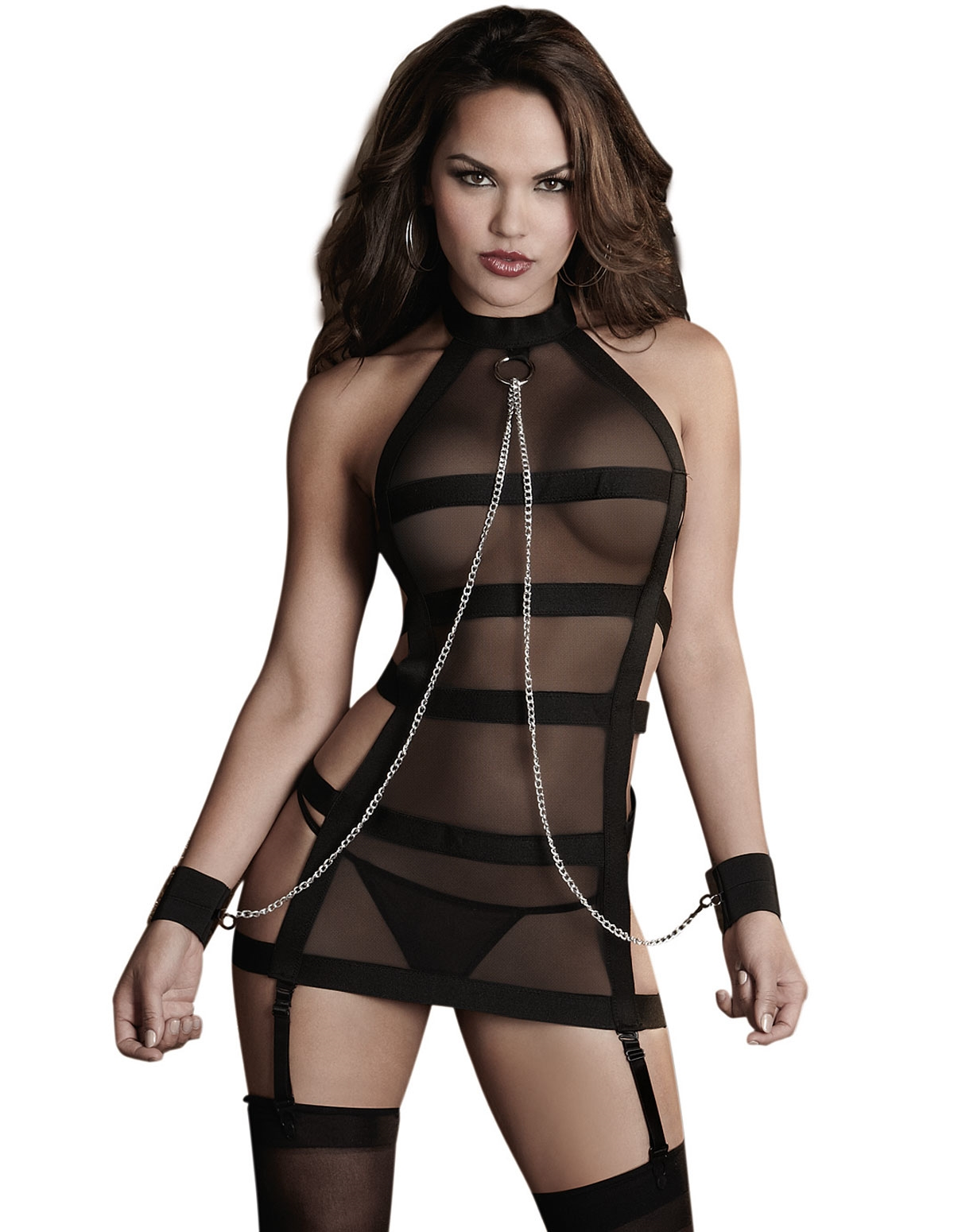 Slave Me Down Stretch Mesh Chemise