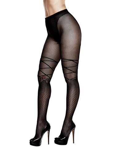 JACQUARD PANTYHOSE WITH BOW - PLUS