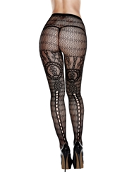 JACQUARD PANTYHOSE WITH KEYHOLE - PLUS