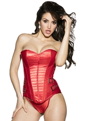 RED HOT BUCKLED CORSET - REG & PLUS