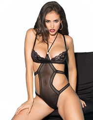 STRETCH MESH AND LACE TEDDY