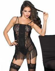 FRINGE AND LACE CHEMISE WITH GARTERS