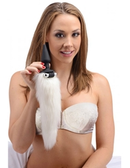 TAILZ WHITE FOX TAIL VIBRATING ANAL PLUG