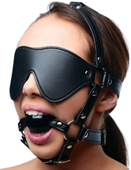 LEATHER BLINDFOLD AND BALL GAG HARNESS